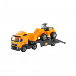 Детская машинка-трейлер + трактор-погрузчик (в сеточке) Volvo арт. 8831. Полесье