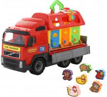 Детская игрушка автомобиль бортовой + домик для зверей (в сеточке) Volvo арт. 1442. Полесье