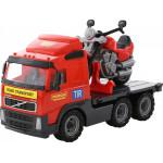 Детская игрушка автомобиль-платформа + мотоцикл гоночный Байк (в сеточке) Volvo арт. 8770. Полесье