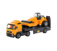 Детская игрушка автомобиль-трейлер + дорожный каток (в сеточке) Volvo арт. 8855. Полесье