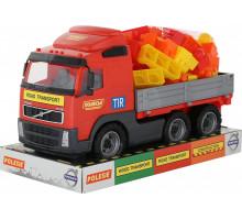Детская игрушка автомобиль бортовой + конструктор Супер-Микс - 60 элементов (в лотке) Volvo арт. 58249. Полесье