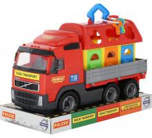 Детская игрушка автомобиль бортовой + домик для зверей (в лотке) Volvo арт. 58263. Полесье