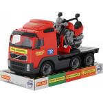 Детская игрушка автомобиль-платформа + мотоцикл гоночный Байк (в лотке) Volvo арт. 58362. Полесье