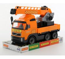 Детская игрушка автомобиль-кран с поворотной платформой (в лотке) Volvo арт. 58324. Полесье