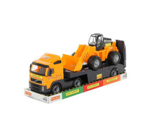 Детская игрушка автомобиль-трейлер + трактор-погрузчик (в лотке) Volvo арт. 58423. Полесье