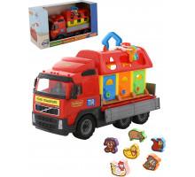 Детская игрушка автомобиль бортовой + домик для зверей (в коробке) Volvo арт. 58256. Полесье