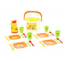 Детская игрушка набор посуды для кукол Пикник ТРИ КОТА (21 элемент, в контейнере) арт. 72948 Полесье