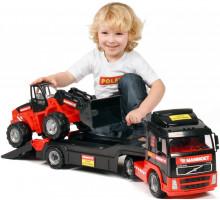 Детский автомобиль-трейлер + трактор-погрузчик MAMMOET VOLVO 204-03, (в лотке). Арт. 57105. Полесье