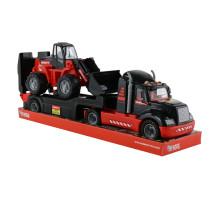 Детский автомобиль-трейлер + трактор-погрузчик MAMMOET 206-03, (в лотке). Арт. 57129. Полесье