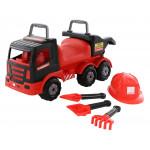 Детский автомобиль-каталка + каска + совок №23 + грабли №23 + лопата №23 MAMMOET 200-02. Арт. 57082. Полесье