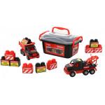 Автомобиль-самосвал + автомобиль-эвакуатор + конструктор (10 элементов) MAMMOET 215-01, (в контейнере). Арт. 57143. Полесье
