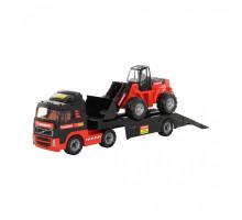 Детская игрушка автомобиль-трейлер + трактор-погрузчик MAMMOET VOLVO 204-01. Арт. 56733. Полесье