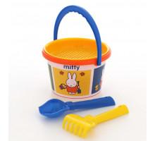 Песочный набор детский ведро среднее с наклейкой Миффи-5 набор №1. Арт. 64790 Полесье