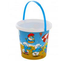 Детская игрушка ведерко для песочницы с наклейкой Смурфики-2. Арт. 65148 Полесье