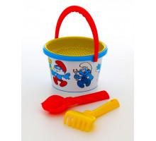 Детские грабельки и лопатка с ведерком для песочницы Смурфики-4 набор №1. Арт. 65230 Полесье