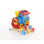 Детская игрушка логический паровозик Смурфики с 6 кубиками №2. Арт. 64363 Полесье