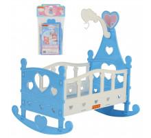 Кроватка-качалка сборная для кукол №3 (8 элементов) (в пакете) цвет голубой арт. 62079. Полесье