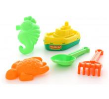 """Детская игрушка кораблик """"буксир"""", совок №7, грабельки №7, формочки (черепаха + м370орской конёк) арт. 35677. Полесье"""