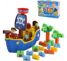 """Игрушка для детей набор """"пиратский корабль"""" + конструктор (30 элементов) (в коробке) арт. 62246. Полесье"""