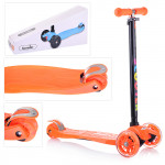 Самокат детский со светящимися колесами Maxi scooter 21st. Цвет оранжевый. Арт. 036s