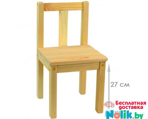 Стульчик детский деревянный, стульчик для детского сада, высота до сиденья 27 см материал массив. Естественный цвет. Арт. SVN27 в Минске