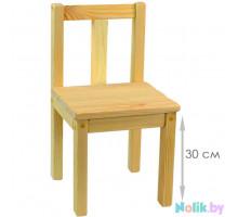 Стульчик детский деревянный большой. Стульчик для детского сада. Материал массив. Высота до сиденья 30 см. Естественный цвет. Арт. SVN30