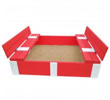 Песочница детская деревянная с крышкой и скамейками трансформер. Размер 150х150 см. Глубина 24 см. Разные цвета. Арт. ПС-0001