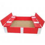 Песочница детская деревянная с крышкой и скамейками трансформер. Размер 150х150 см. Глубина 24 см. Цвет розовый с белым. Арт. ПС-0001
