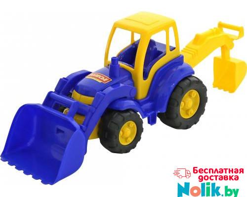Детская игрушка Чемпион трактор с лопатой и ковшом цвет голубой (в сеточке) арт. 0513. Полесье в Минске