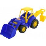Детская игрушка Чемпион трактор с лопатой и ковшом цвет голубой (в сеточке) арт. 0513. Полесье
