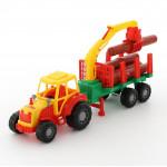 Детская игрушка Мастер трактор с полуприцепом-лесовозом цвет красный арт. 35295. Полесье