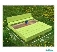 Детская песочница деревянная большая с крышкой и лавочкой (трансформер). Размер 150 х 150 см (песочница для дачи и детского сада) Арт. ПС-150 Цвет салатовый