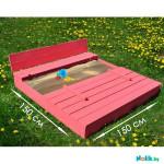 Детская большая песочница деревянная с крышкой и лавочкой (трансформер). Размер 150 х 150 см (песочница для дачи и детского сада) Арт. ПС-150 Цвет розовый.
