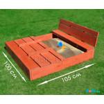 Детская песочница с крышкой и лавочкой деревянная (трансформер). Размер 105х100 см (песочницы для дачи и детского сада) арт. ПС-105 Цвет светлый орех.