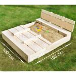 Песочница детская деревянная с крышкой и лавочкой (трансформер). Размер 105х100 см (песочницы для дачи и детского сада) арт. ПСН-105 цвет естественный