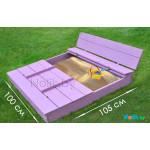 Песочница детская с крышкой и лавочкой деревянная (трансформер). Размер 105х100 см (песочницы для дачи и детского сада) арт. ПС-105 цвет сиреневый