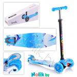 Самокат детский Scooter 21st Maxi Принт до 60 кг  (светящиеся колеса, в коробке). Цвет голубой, дельфины. Арт. 036Z