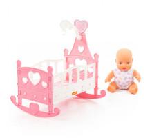 """Игрушка для детей Пупс """"Славный"""" + кроватка-качалка (8 элементов) (в пакете) арт. 76670. Полесье"""