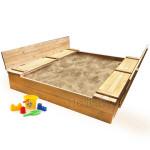 Детская большая песочница деревянная с крышкой и лавочкой (трансформер). Размер 200 х 200 см. Глубина 30 см, (песочница для дачи и детского сада) Арт. ПС-0003 Цвет светлый орех