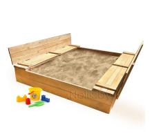 Детская большая песочница деревянная с крышкой и лавочкой (трансформер). Размер 200 х 200 см. Глубина 28 см, (песочница для дачи и детского сада) Арт. ПС-0003 Цвет светлый орех