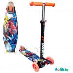 Самокат детский Scooter 21st Maxi Принт (Print) детский  до 60 кг  (светящиеся колеса, в коробке). Цвет оранжевый, космический робот. Арт. 036Z