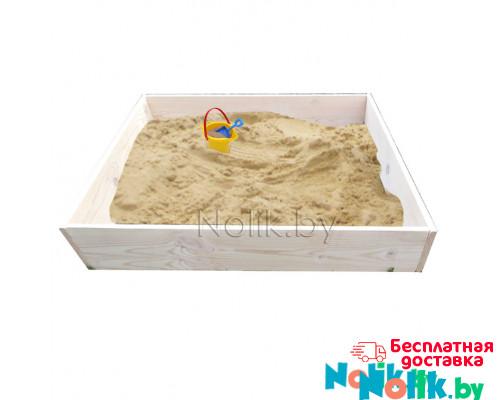 Детская песочница деревянная для дачи. Размер 105*100 см. Высота 15 см. Цвет естественный. Арт. П-100 в Минске