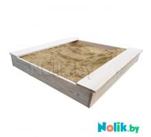 Детская песочница деревянная с лавочками для дачи. Размер 105*100 см. Высота 15 см. Цвет естественный. Арт. П-100НЛ