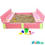 Детская большая песочница деревянная с крышкой и лавочкой (трансформер). Размер 150 х 150 см. Глубина 24 см, (песочница для дачи и детского сада) Арт. ПС-0002В Цвет розовый с салатовыми вставками