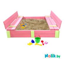 Детская большая песочница деревянная с крышкой и лавочкой (трансформер). Размер 150 х 150 см. Глубина 24 см, (песочница для дачи и детского сада) Арт. ПС-0001 Цвет розовый с салатовыми вставками
