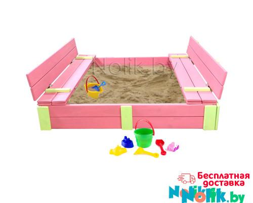 Детская большая песочница деревянная с крышкой и лавочкой (трансформер). Размер 150 х 150 см. Глубина 24 см, (песочница для дачи и детского сада) Арт. ПС-0001 Цвет розовый с салатовыми вставками в Минске