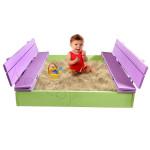 Песочница детская с крышкой и лавочкой деревянная (трансформер). Размер 105х100 см (песочницы для дачи и детского сада) арт. ПС-105 Цвет салатовый с сиреневым