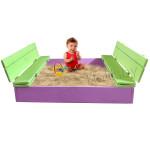 Детская песочница деревянная с крышкой и лавочкой (трансформер). Размер 105х100 см (песочницы для дачи и детского сада) арт. ПС-105 Цвет сиреневый с салатовым