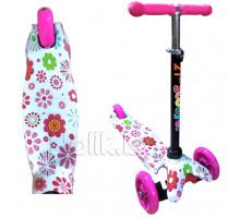 Самокат детский трехколесный 21st Scooter Mini с принтом, светящиеся колеса, регулируемая ручка. Самокат 21st Scooter Mini. Цвет розовый в цветы. Арт. 038z