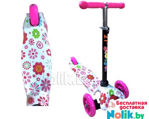 Самокат детский трехколесный 21st Scooter Mini с принтом, светящиеся колеса, регулируемая ручка. Самокат 21st Scooter Mini. Цвет розовый в цветы. Арт. 038z в Минске